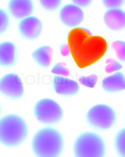 Glowing red heart surrounded by violet hearts on white