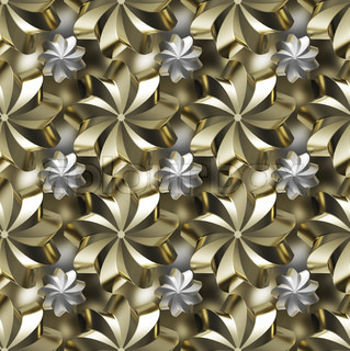 Seamless texture/background made of golden and silver twirled stars