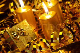 Christmas candles and gift boxes Gold color