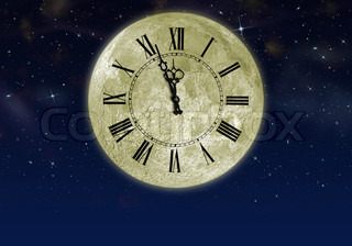 The moon with arrow clock in the star sky Concept eve of New year