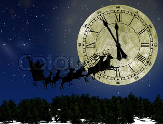 Santa Claus On Sledge With Deer against the bright moon with arrows clock Concept eve of New year