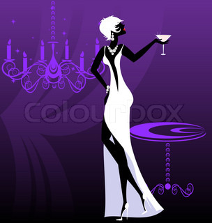 on an abstract purple background is stylish lady in white