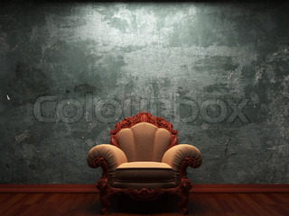 old concrete wall and chair made in 3D graphics
