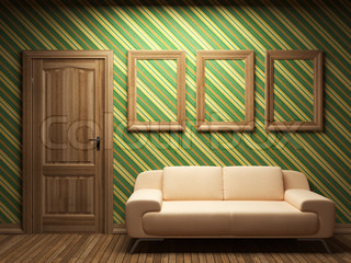 illuminated fabric wallpaper and door made in 3D
