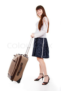 portrait of the charming woman with valise on white background