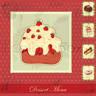 Beautiful vintage card with a strawberry and chocolate cake