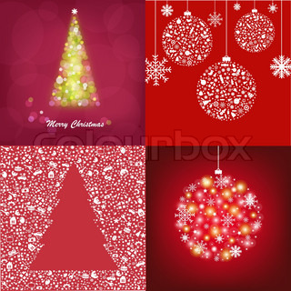 4 Abstract Christmas Cards, Vector Illustration