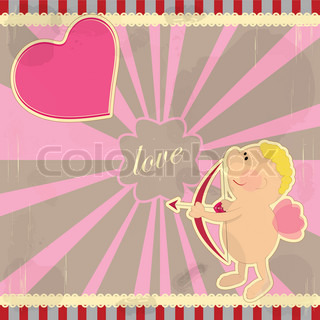 Cards for Valentine's Day in vintage style with Cupid