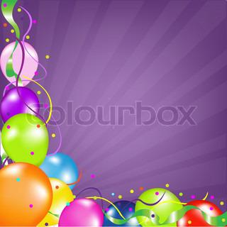Farverige balloner med sunburst vector illustration