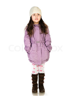 little girl in a coat ower  white background