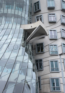 detail of the modern architecture dancing house in Prague