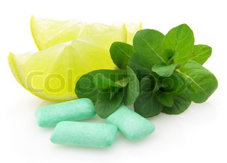 Chewing gum with lime and mint