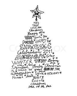 hand drawn christmas tree isolated on the white background