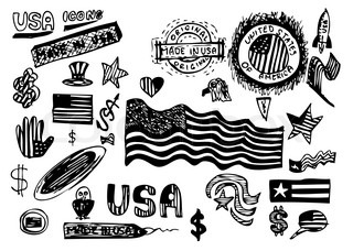 hand drawn usa symbols isolated on the white background
