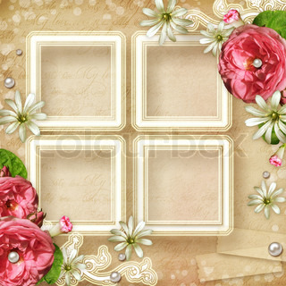 Vintage Photo Frame with pink roses and pearls