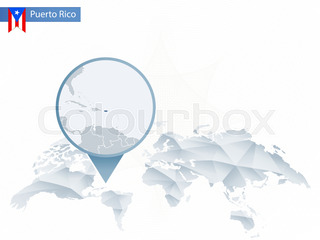 World map with magnifying on puerto rico blue earth globe with abstract rounded world map with pinned detailed puerto rico map sciox Choice Image