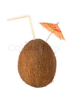 kokos drink , kokos med et strå og paraply
