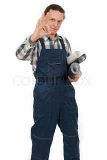 Worker with wallpapers in hands on white background