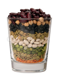 different species of legumes in a glass
