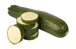 greenzucchini with slices,isolated on white background