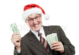 Happy Smiling Business man in red hat holding dollar banknotes money