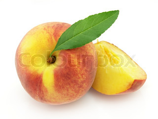 Sweet peach with leaves