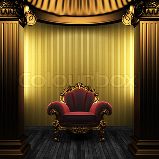 bronze columns, chair and wallpaper made in 3D