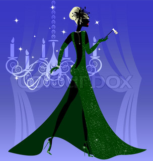 on an abstract blue background is stylish lady in green with opera glasses