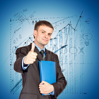 Young Businessmen making his thumb up saying OK and with folder in other hand on graph background