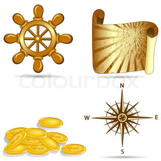 vector illustration of a set of nautical icons