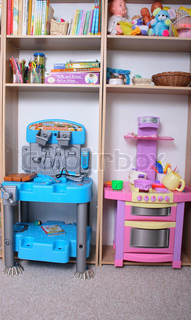 room for kids twins boy and girl witk workplace and kitchen