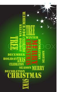 juletræ fra ord på det grønne bacground