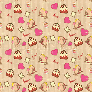 seamless background for Valentine's Day in vintage style with Cupid