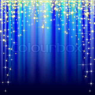 Illustration of festive blue background with gold stars.