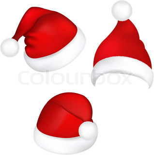 Three Santa Hats, Isolated On White Background, Vector Illustration