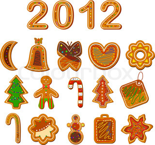 Set of christmas cookies on the white background Vector illustration