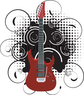 Vector illustration of a guitar on abstract grunge background