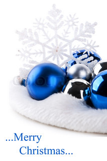 blue christmas balls and snowflake isolated on a white background