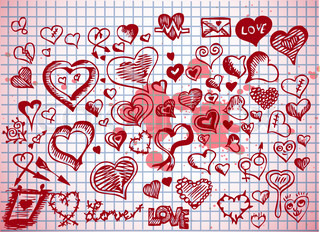 hearts and valentine symbols isolated on the old background