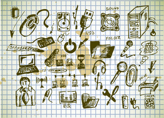 hand drawn computer icons isolated on the old paper