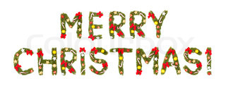 Marry christmas greeting Isolated on white background