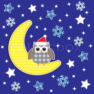 Christmas card with cute owlVector textile stickers