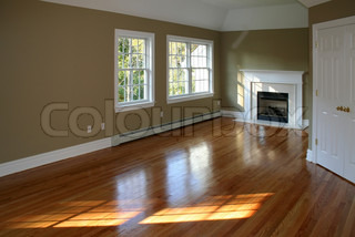 Empty room in new home with fireplace  ambient window light