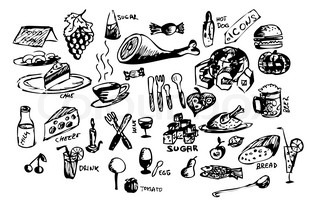 hand draw food icons isolated on the white background