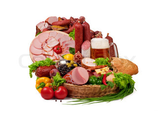 A composition of meat and vegetables with a pot full of beer isolated on white File includes clipping path for easy background removing