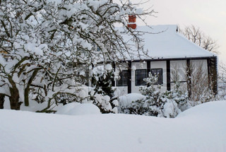 An old White House behind a Snow Covered Tree