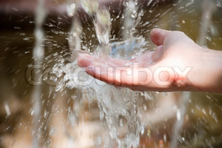 hand washing with drops of water