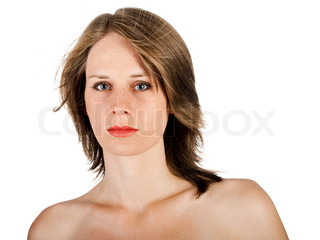 beautiful woman face isolated on a white background
