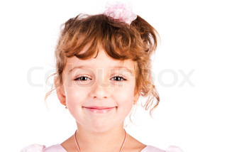 child girl face isolated on a white background