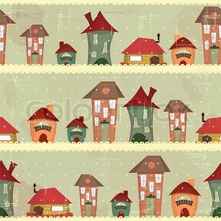 retro houses - christmas seamless in vintage style